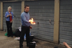 Jude Poyner executing a fire stunt.
